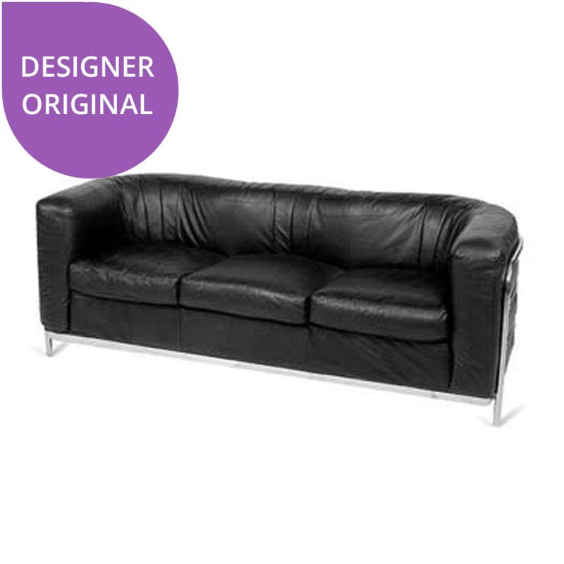 Le Corbusier Black Rounded 3 Seat Sofa