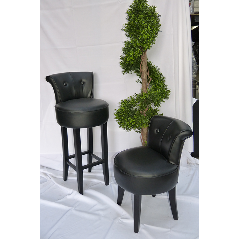 Black Leather Vintage Style Bar Stool Hire