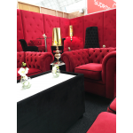 Red Velvet Booth Seating - Corner