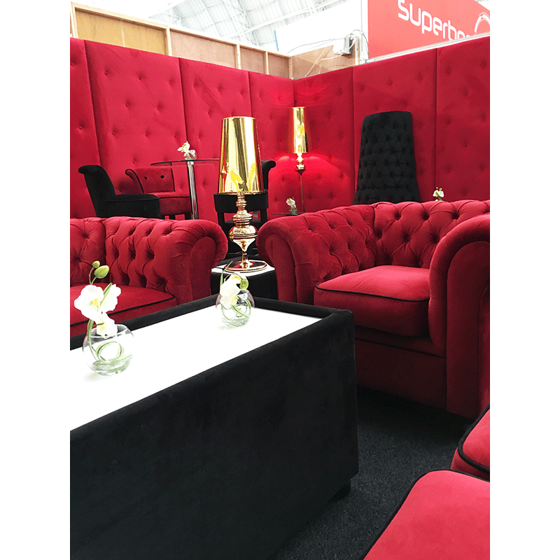 Red velvet furniture hire
