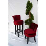 George Red Velvet Bar Stool