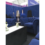 Royal Blue Velvet Chesterfield Style 4 Seater Sofa