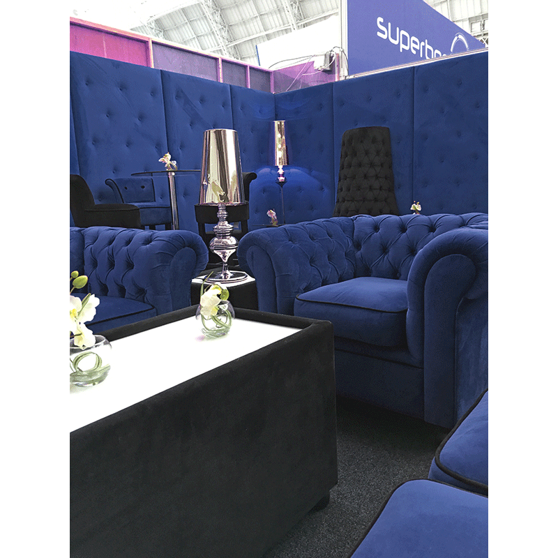 Blue velvet seating