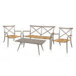Taupe Aluminium Outdoor Bar Stool with Rattan Seat