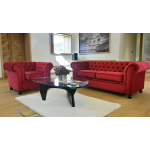 Red Velvet Chesterfield Style Armchair