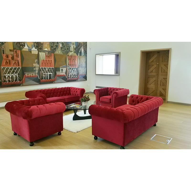 Hire red velvet sofas