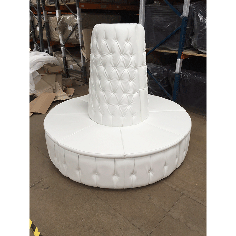 White Leather Chesterfield Doughnut Tower