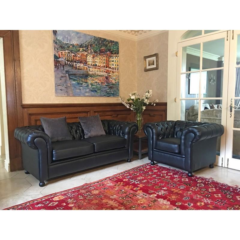 Black Chesterfield Armchairs & Sofa