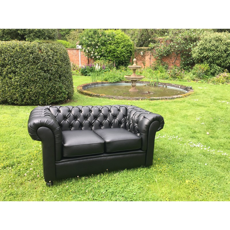Black Chesterfield 2 Seat Sofa