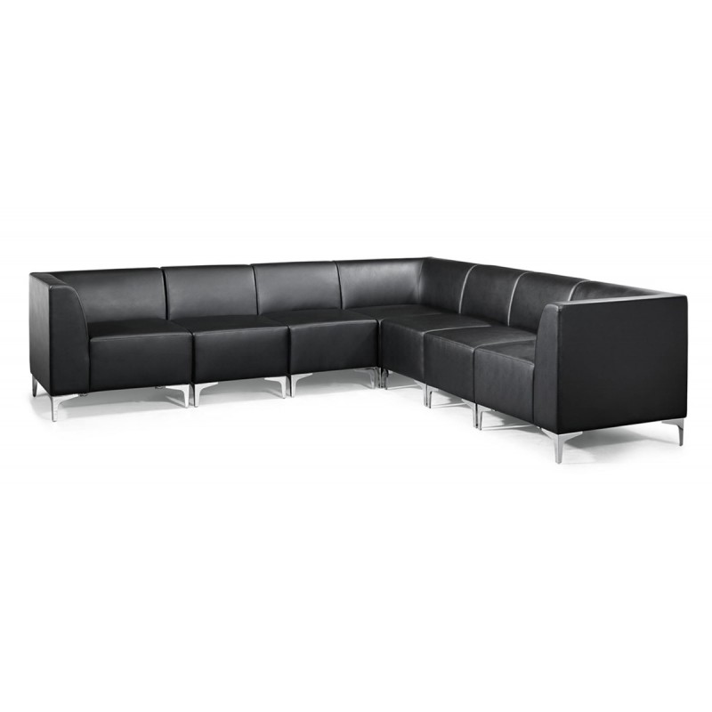 Black Leather Modular Sofas