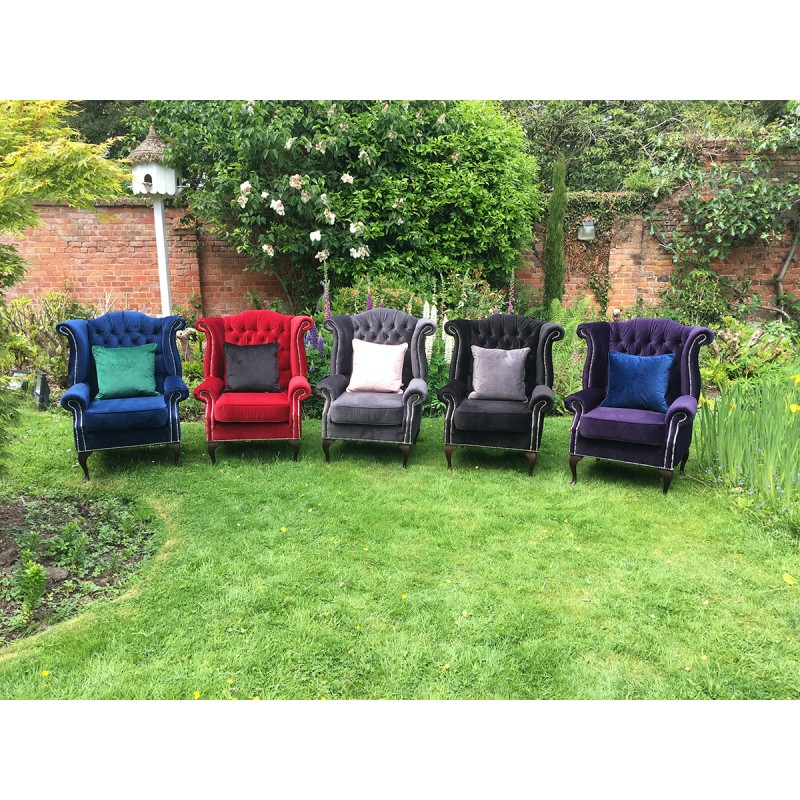 Velvet wingback chairs