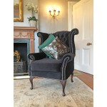 Grey Velvet Wingback Chair