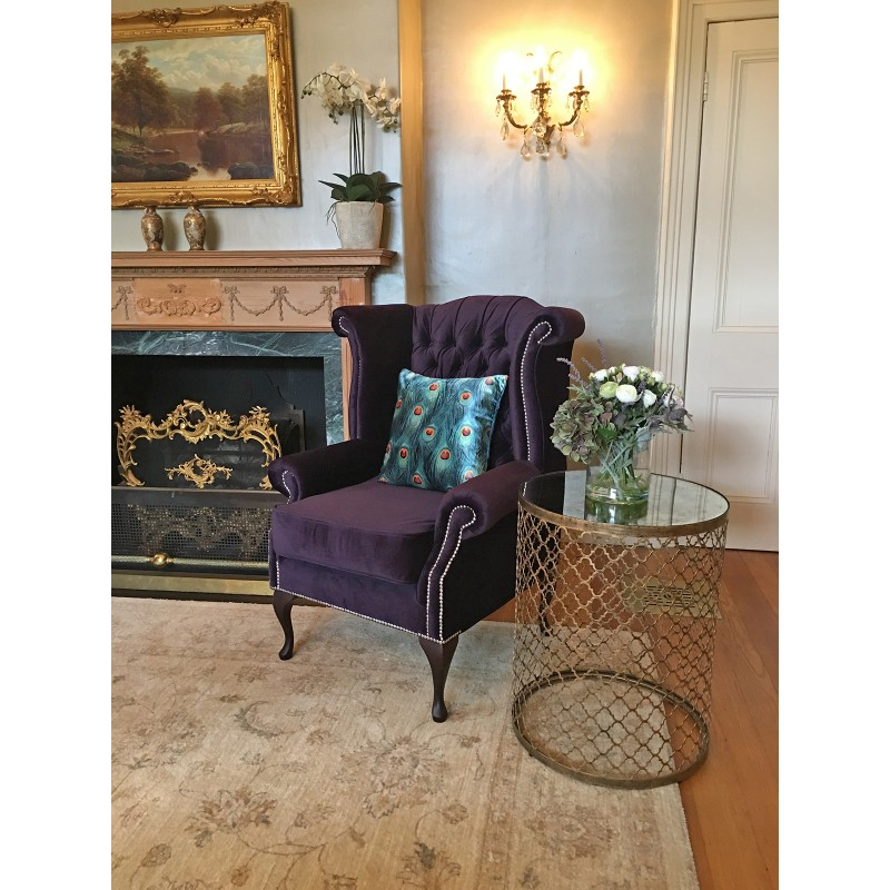 Traditional purple armchairs