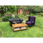 Black Chesterfield Style Sofa - 2 Seater