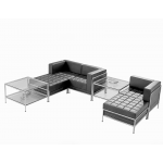Leather Modular Reception Seating - Pouffe