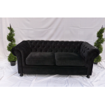 Black Velvet Chesterfield Style 4 Seater Sofa