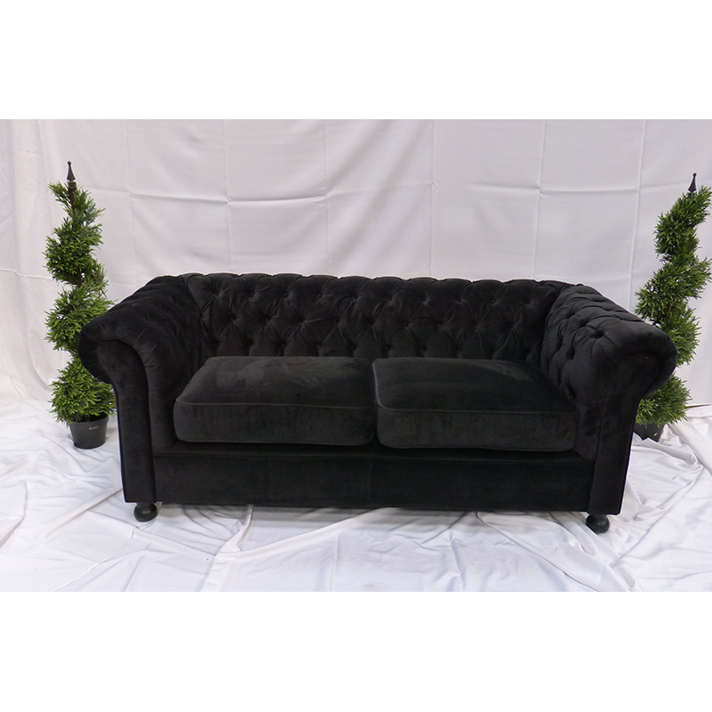 Black Velvet Large Sofa