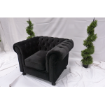 Black Velvet Chesterfield Large Sofa
