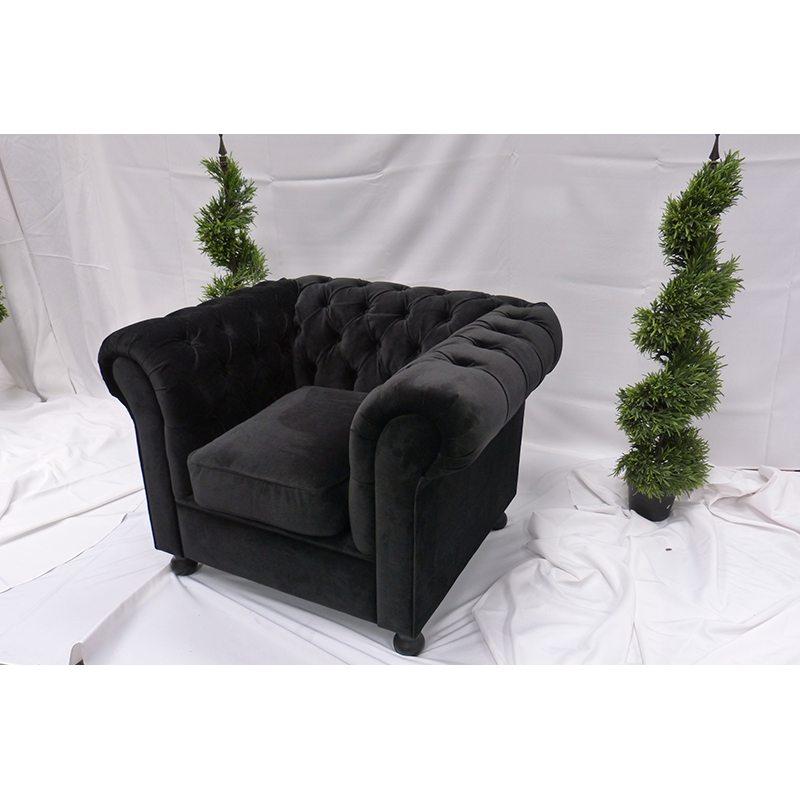 Black Velvet Chesterfield 3 Seater Sofa