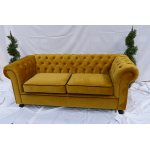 Gold Velvet Chesterfield Style 3 Seater Sofa