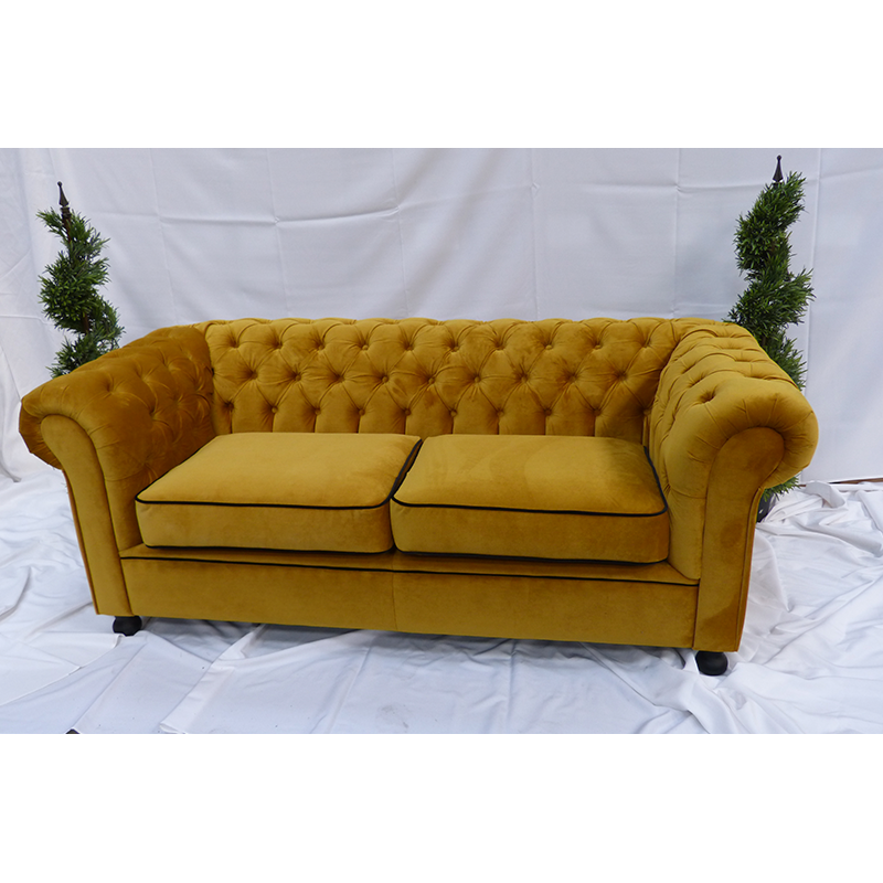 Large Gold Velvet Chesterfield Sofa