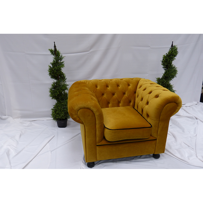 Gold Velvet Chesterfield Armchair