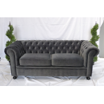 Grey Velvet Chesterfield Style 3 Seater Sofa