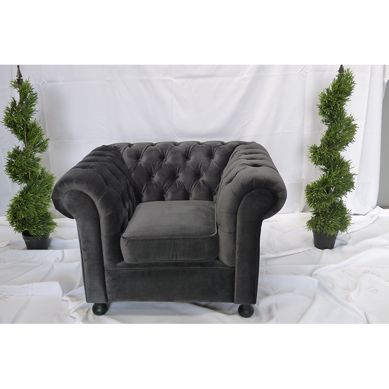 Grey Velvet Armchair Hire