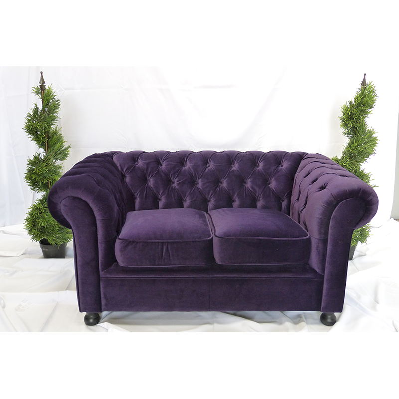 Purple velvet sofa hire