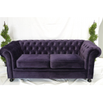 Purple Velvet Chesterfield Style 3 Seater Sofa