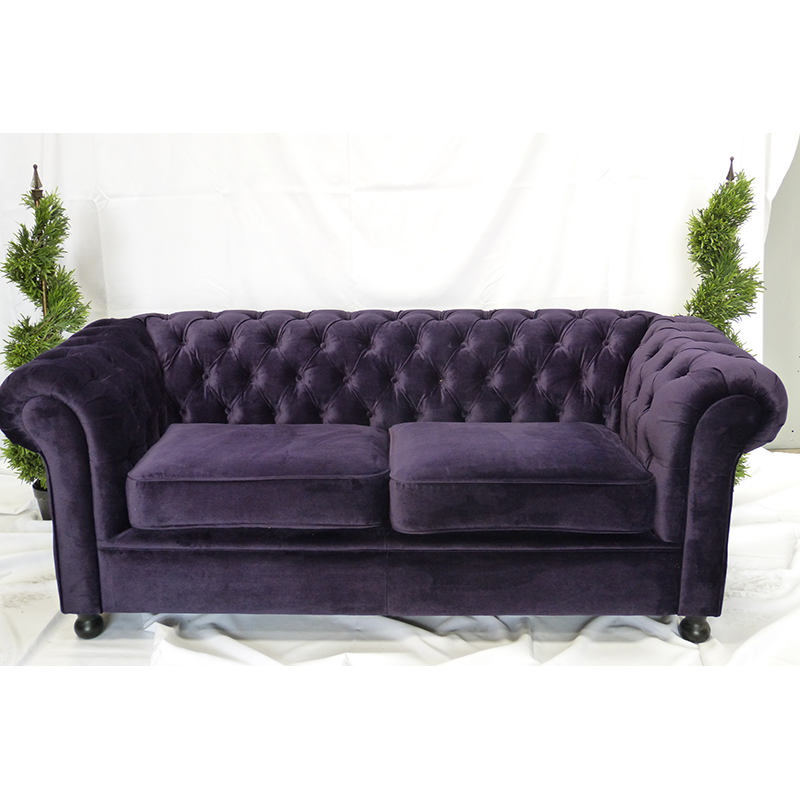 Large purple velvet sofa hire