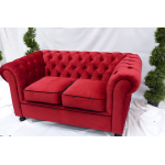 Red Velvet Chesterfield Style 2 Seater Sofa