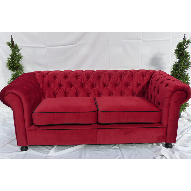 Red Velvet Chesterfield Style 3 Seater Sofa | Sofa Hire
