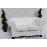 White Leather Chesterfield Style Sofa with Cushioned Seat - 3 Seater