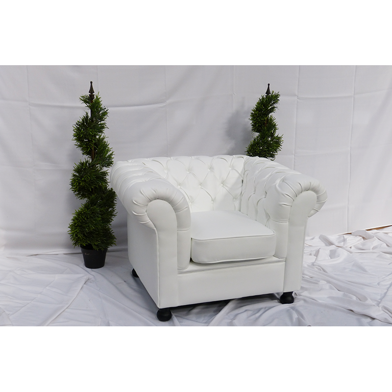White Leather Chesterfield Armchair