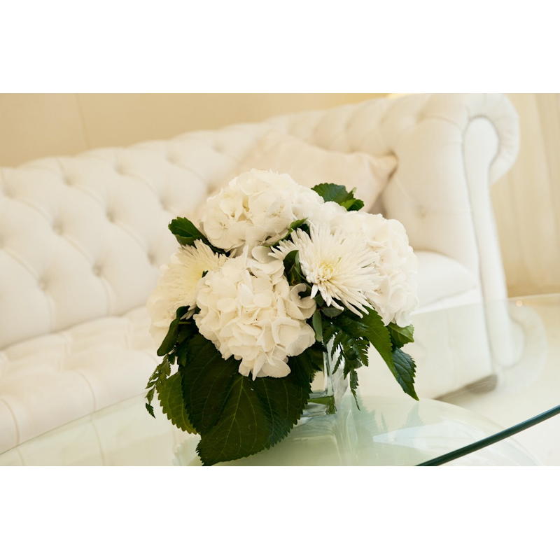 White Chesterfield Leather Sofa