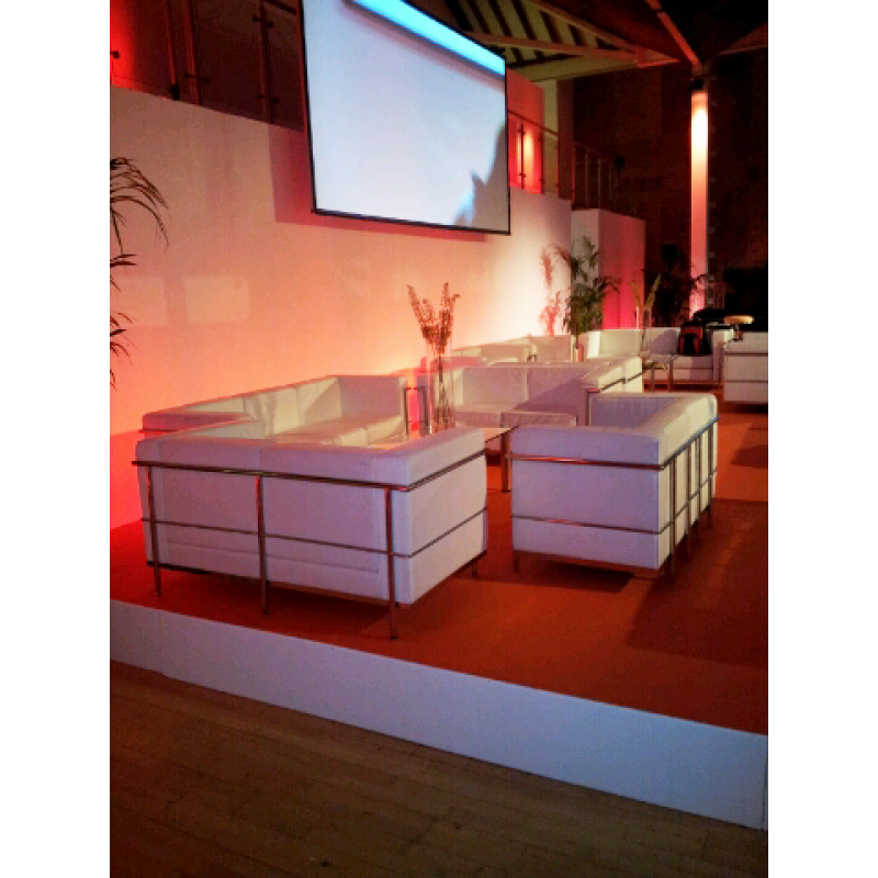 White soft seating hire