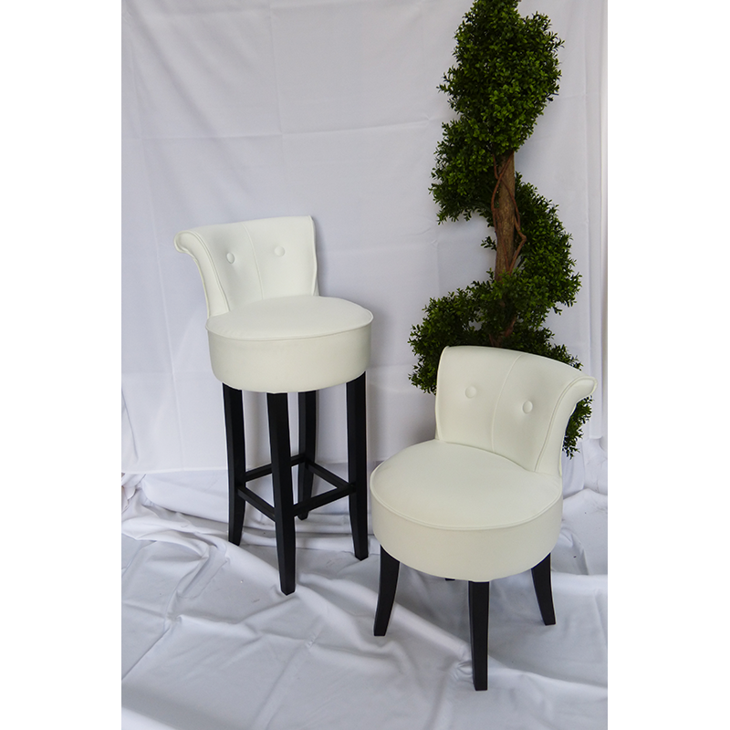 White leather chairs and stools