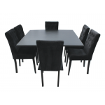 Black Large Base Dining Table - Black Square Top