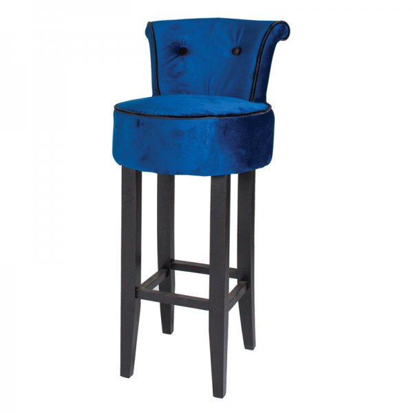 Royal Blue George Velvet Bar Stool