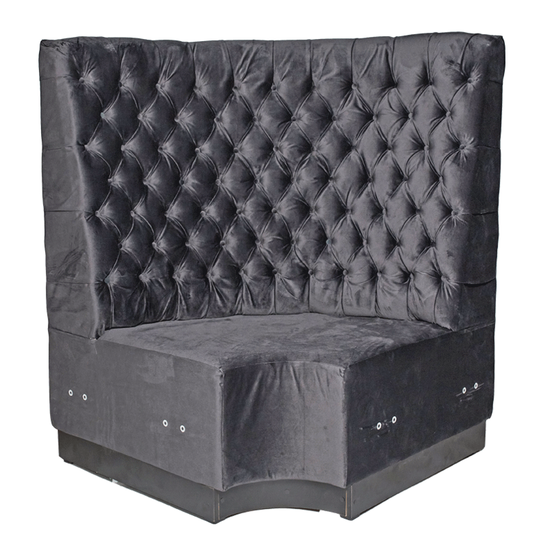 Grey Velvet Booth Seating - Corner