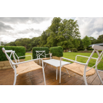 White Aluminium Outdoor Chair with Rattan Seat