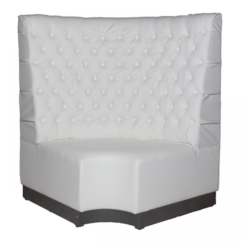 White Leather Booth Seating - Corner