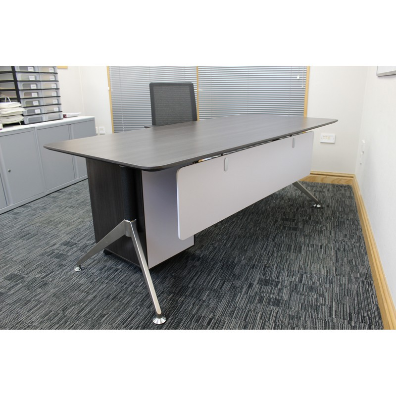 Dark Grey Wood Executive Office Desk