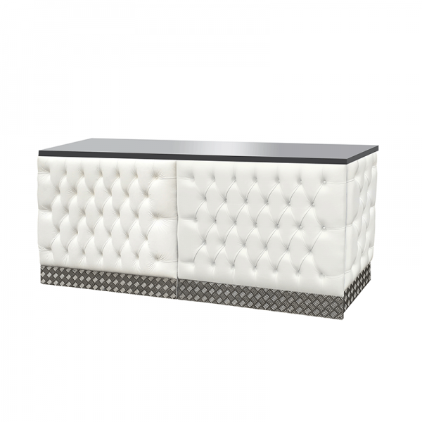 Double Chesterfield Style Bar - White Leather