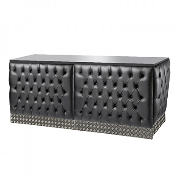 Double Chesterfield Style Bar - Black Leather