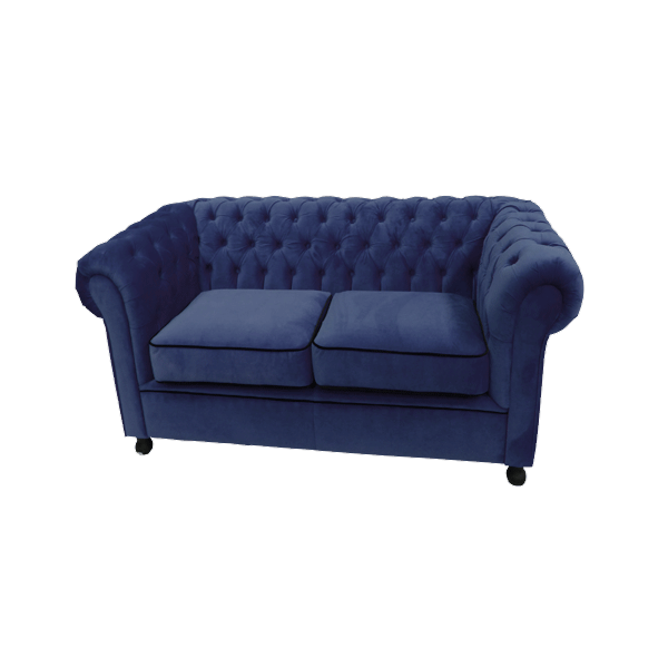 Royal Blue Velvet Chesterfield Style 2 Seater Sofa