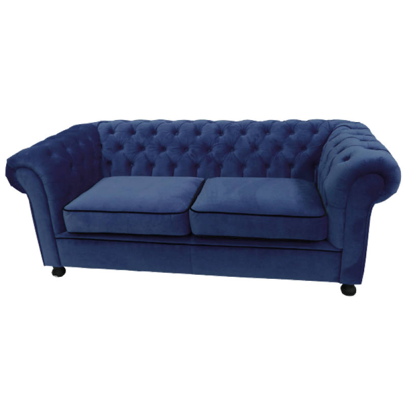 Royal Blue Velvet Chesterfield Style 3 Seater Sofa