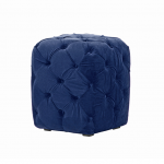 Royal Blue Velvet Chesterfield Style Pouffe