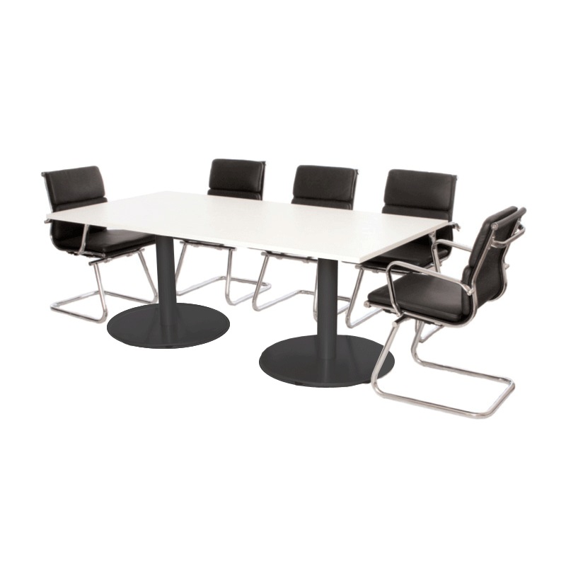 White Rectangle Boardroom Table